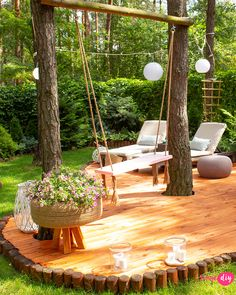 New wooden terrace in my forest garden - Your DIY- Nowy drewniany taras w moim leśnym ogrodzie – Twoje DIY how to make a wooden terrace - Backyard Patio, Backyard Landscaping, Patio Stone, Flagstone Patio, Concrete Patio, Patio Table, Wooded Backyard Landscape, Backyard Hammock, Backyard Playground