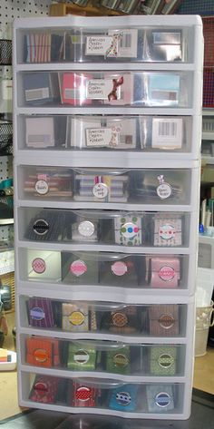 The answer to my ribbon storage problem! Amazing Ribbon Storage That I Absolutely Love Scrapbook Storage, Scrapbook Organization, Craft Organization, Scrapbook Rooms, Organizing Tips, Ribbon Organization, Ribbon Storage, Paper Storage, Plastic Storage