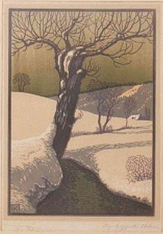 ✨ Karl Johne, Czech/Bohemian (1887-1959) - Wintersonne, signiert, sowie im Stock monogrammiert, 27,5 x 19,5 cm ::: Winter Sun [Woodcut or Linocut???]