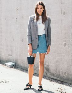 The coolest combo among the style set right now? A short denim skirt paired with a long-line blazer. Wear with flats or low kitten heels.