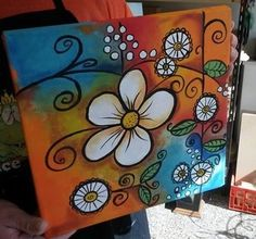 Summer Painting, Easy Canvas Painting, Dot Painting, Painting & Drawing, Canvas Art, Acrylic Painting Inspiration, Floral Doodle, Diy Art Projects, Small Art