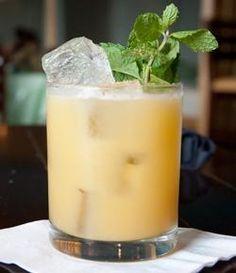 Rum, pineapple juice, cream of coconut, orange juice and fresh nutmeg.