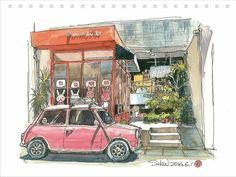 Watercolor Sketch, Watercolor Illustration, Watercolor Paintings, Drawing Sketches, Art Drawings, City Sketch, Urban Sketching, Character Drawing, Cute Illustration