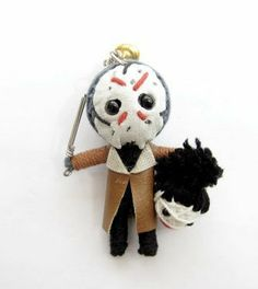 Jason Voodoo String Doll Keychain by String Doll World. $1.90. A handmade / hand crafted doll made from a single flax rope. Each doll is hand decorated and adorned with recovered textiles and other detailing such as beads, buttons, and clips. Each doll has a chain to enable the doll to be used as a keychain, a mobile phone strap, added to jewelry, or any similar use like a bag accessory. Can also be used as a X-Mas tree accessory. As the dolls are handmade, each doll is un...