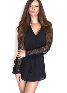 """Perfect for a date night with your boyfriend or a night out with your girlfriends .Non-stretchy, long sleeve, chiffon romper features lace detailing on the sleeves and on the back. Sleeves have button tabs, and the romper has a hidden zipper closure on the back.  Model is wearing a small All measurements are for a small Length from shoulder to lowest hem: 28"""" Inseam: 1.75"""", Waist: 24"""" 100% Polyester Hand wash cold, dry flat Imported"""