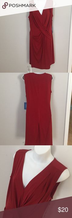 """Simply Vera Red Dress Color: Deep Red.                                                                                                96% polyester & 4% spandex.                            Sleeveless.                                                                      Purchased at Kohls.                                                           Length from shoulder is approximately 39"""".        Never worn so decided to share.                       Everything in the front is stitched together…"""