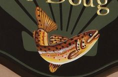 This handcrafted sign in Sagle, Idaho, features a hand painted trout, set on a seashell watermark. Lake House Signs, Home Signs, Sea Shells, Hand Painted, Fish, Detail, Painting, Clams, Painting Art