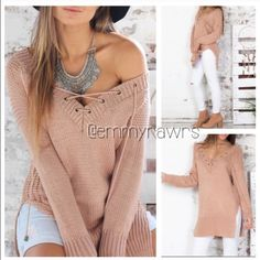 🆕 Ready to Ship • Laced Up Side Slit Sweater Hot hot hot!! Add this sexy laced up  top to your closet! Features a laced up front and slit sides. Material: acrylic. Color is like a dusty rose color. - This sweater is unbranded. - Emmyrawrs Tops