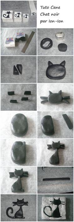 Tuto Fimo Cane Chat noir - Fimo, Cernit et accessoires : http://www.creactivites.com/236-pate-polymere