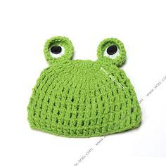 Baby Velvet Crochet Beanie Photography Green Frog Hat #eozy