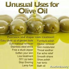 Unusual Uses for Olive Oil Psoriasis and diaper rash treatment Skin moisturizer Throat soother Ear ache relief Smooth shave Bath oil Hair Tonic Eye Makeup Remover Lice treatment Lip Balm Sticker. Olive Oil Uses, Olive Oils, Diaper Rash Treatment, Health And Beauty, Health And Wellness, Health Advice, Just In Case, Just For You, Essential Oils