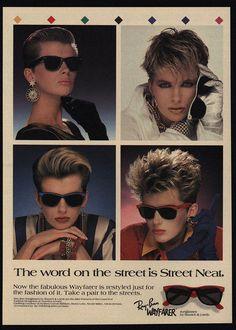 1987 RAY-BAN WAYFARER Sunglasses Sexy Women w/ Retro 80's Hairstyles VINTAGE AD