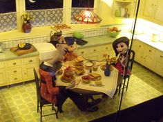 Coraline stop-motion animation puppets and kitchen set