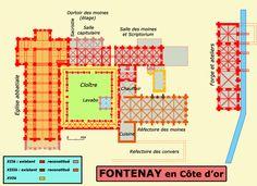 Plan l'abbaye cistercienne de Fontenay en Bourgogne, 1118 : exemple d'une architecture cistercienne. San Giacomo, Art Roman, Architecture, Medieval, Floor Plans, Age, How To Plan, France, Straight Lines