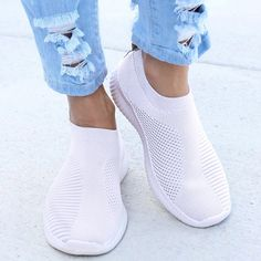 Summer Sneakers For Women Knitted Vulcanized Shoes Sock Sneakers Slip On tenis feminino Mesh Breathable Trainers Zapatos Mujer – Linh's Corner Summer Sneakers, Sneakers Mode, Slip On Sneakers, Slip On Shoes, White Sneakers, Flat Shoes, Platform Sneakers, Shoes Sneakers, Womens Fashion Sneakers