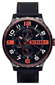 Free shipping and returns on VERSUS by Versace 'Globe' Multifunction Leather Strap Watch, 50mm at Nordstrom.com. Masculine in size and bold in design, this numeral-dial watch rests on a comfortable leather strap.