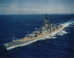 Battleship USS New Jersey on the high seas