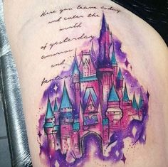 Watercolor Disney Castle Tattoo by Natalie Christian