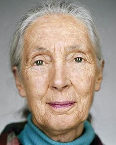 Martin Schoeller Happy birthday to one of my major inspirations! Jane Goodall by Martin Schoeller Martin Schoeller, Jane Goodall, People Of Interest, Ageless Beauty, Interesting Faces, Women In History, Famous Faces, Belle Photo, Amazing Women