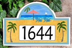 Beach Paradise Address Plaque – Ceramic House Number Plaques