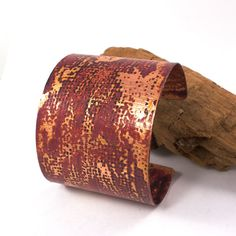 Textured Handmade Copper Cuff, Flame Patina Finish by @solanakaidesign