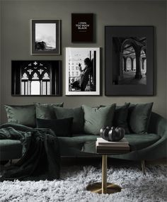 Find inspiration for creating a picture wall of posters and art prints. Endless inspiration for gallery walls and inspiring decor. Create a gallery wall with framed art from Desenio. Inspiration Wall, Interior Design Inspiration, Decor Interior Design, Living Room Designs, Living Room Decor, Bedroom Decor, Dark Green Living Room, Piece A Vivre, Home And Deco