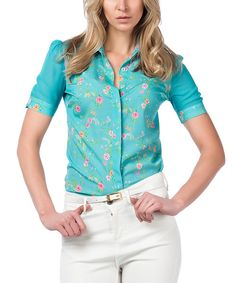 Look at this Guita Mint & Pink Floral Button-Up Top on #zulily today!