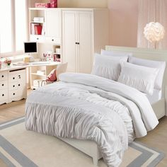 BEDDING: White ruched fabrics are very elegant.  VCNY Janeth Rouched Eyelet 3-piece Comforter Set overstock full $64.99