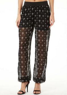 Flutterbye Cross Print Pant - View All Pants - Pants - Clothing - Alloy Apparel