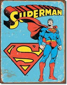 Retro Superman Man of Steel Vintage Tin Sign Rustic DC Comics Superman Comic, Poster Superman, Superhero Poster, Superhero Room, Superman Logo, Superhero Signs, Superhero Bathroom, Superman Tattoos, Superman Images