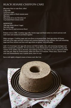 black sesame chiffon cake recipe | vanillyn