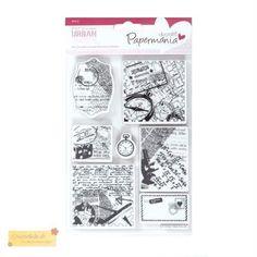 Docrafts-Papermania-urban-Stempel-SET-TRAVEL-PRINT-PMA907125-venitage-Reise