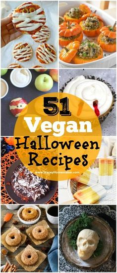 What vegan recipes are you making for Halloween? Here's the ultimate list of 51 vegan Halloween recipes for you to choose from! What vegan recipes are you making for Halloween? Here's the ultimate list of 51 vegan Halloween recipes for you to choose from! Halloween Dinner, Halloween Desserts, Halloween Food For Party, Halloween Cookies, Healthy Halloween Treats, Halloween Halloween, Vegan Foods, Vegan Dishes, Vegan Recipes