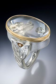 Rock Crystal ring in Platinaire and gold by Conni Mainne