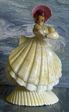 Vintage seashell art lady