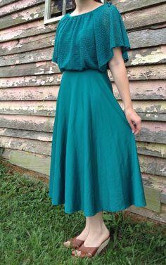 Vintage Teal Flutter Sleeve Flowy Dress by OwlAndThen on Etsy, $30.00