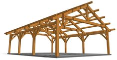 Check out this plan! This 26×36 timber frame carport is a great looking, roomy structure with a clear span uninterrupted by central posts. Carport Kits, Carport Plans, Building A Carport, 2 Car Carport, Pergola Carport, Outdoor Pergola, Gazebo, Wooden Carports, Rv Carports