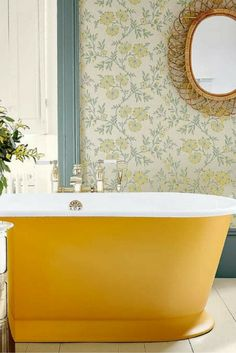 Little Greene 'Archive Trails' wallpaper collection – Stitch design in 'Highland'. Yellow Baths, Yellow Bathrooms, Interior Design Inspiration, Home Interior Design, Interior Decorating, Decorating Ideas, Interior Ideas, Wallpaper Collection, Home Planner