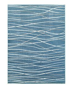 Loving this Blue & White Wavy-Line Plush Grace Area Rug on #zulily! #zulilyfinds