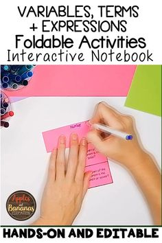 Foldable INB activities for Variables, Terms, and Expressions. Hands-on and Editable. Perfect for the Algebra 1 classroom. Product also includes guided notes, presentation, and entrance/exit tickets. Comprehensive and appealing to all types of learners. Math Notebooks, Interactive Notebooks, Calculus, Algebra 1, Algebra Lessons, Types Of Learners, Math Concepts, Variables, High School Students