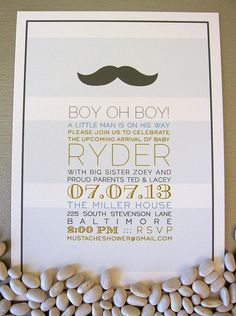 Mustache Baby Shower Invitation by SpillingBeans