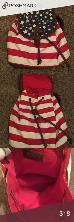 NWOT F21 American flag backpack This backpack is brand new never been used before! From sitting in my closet there is a slight stain/ discoloration at the bottom. It's visible in the photos but can easily come out. You have to look really hard to see it. Great backpack and can hold a lot! Priced to sell! Forever 21 Bags Backpacks