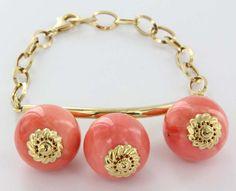 Vintage 18 Karat Gold Coral Charm Bracelet Estate Fine Jewelry Heirloom Statement