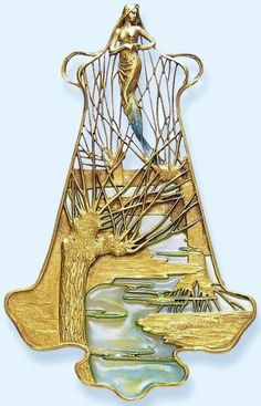 RENÉ LALIQUE. 1900 'Dryad and Willows' Pendant. Chased gold/ enamel on gold/ plique-à-jour enamel. From christies.com