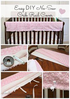 ELF: A Family Blog: Easy DIY No-Sew Crib Rail Cover {tutorial}