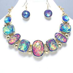 Chunky Sapphire Blue Purple Opalescent Bead Gold Chain Statement Necklace Set | eBay