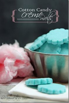 Cotton Candy Creme Melts Vegetarian • Gluten free • Makes 7 dozen candies Mama Miss Baking & Spices 3/4 tsp 	Cotton candy flavored duncan hines frosting creations flavor mix 3 cups 	Powdered sugar 2 tbsp 	Superfine sugar Dairy 4 oz 	Cream cheese