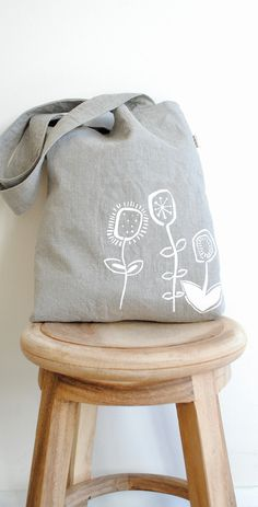 Flower art - screenprinted - Natural flax  Linen. Etsy.