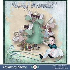 Joyous Collection was used to make this layout featuring Sherry's granddaughter at Christmas. She loved working with the pastels in this kit and the cute elements saying these worked so well to create a soft whimsical layout.  Joyous Collection by Patty B Scraps  is ON SALE 30% to 60% until December 11.