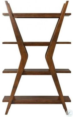 """Gorgeous walnut veneers and hardwood solids with spot-on Mid Century Modern styling Woodcrest Etagere Bookcase features four open shelves and """"boomerang"""" posts in medium premium Walnut finish. Living Room Furniture Sale, Cool Furniture, Modern Furniture, Rustic Furniture, Office Furniture, Antique Furniture, Shelf Furniture, Indian Furniture, Furniture Stores"""